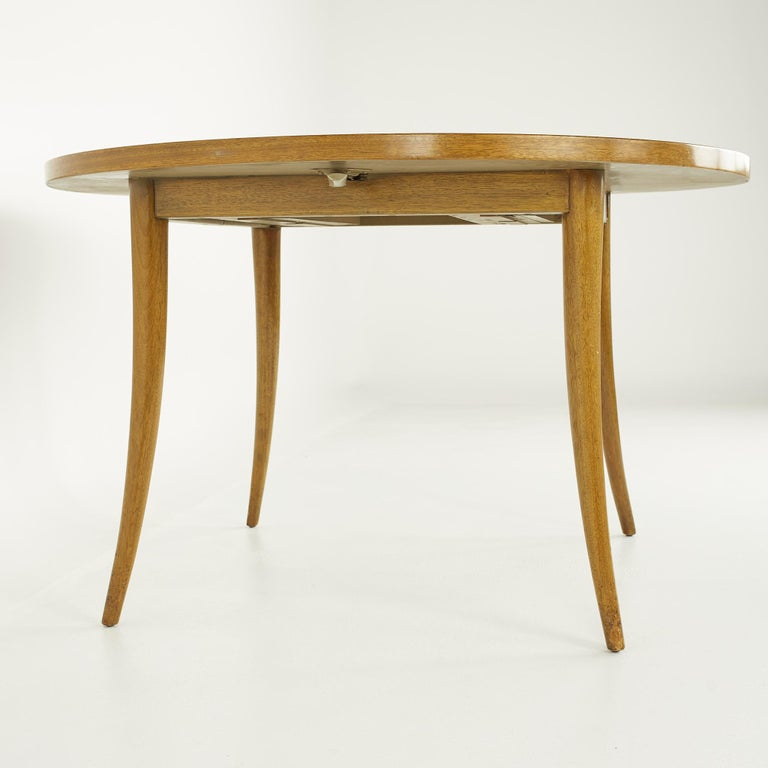 Harvey Probber MCM Saber Leg Extension Bleached Mahogany Dining Table In Good Condition For Sale In La Grange, IL