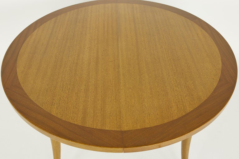 Late 20th Century Harvey Probber MCM Saber Leg Extension Bleached Mahogany Dining Table For Sale