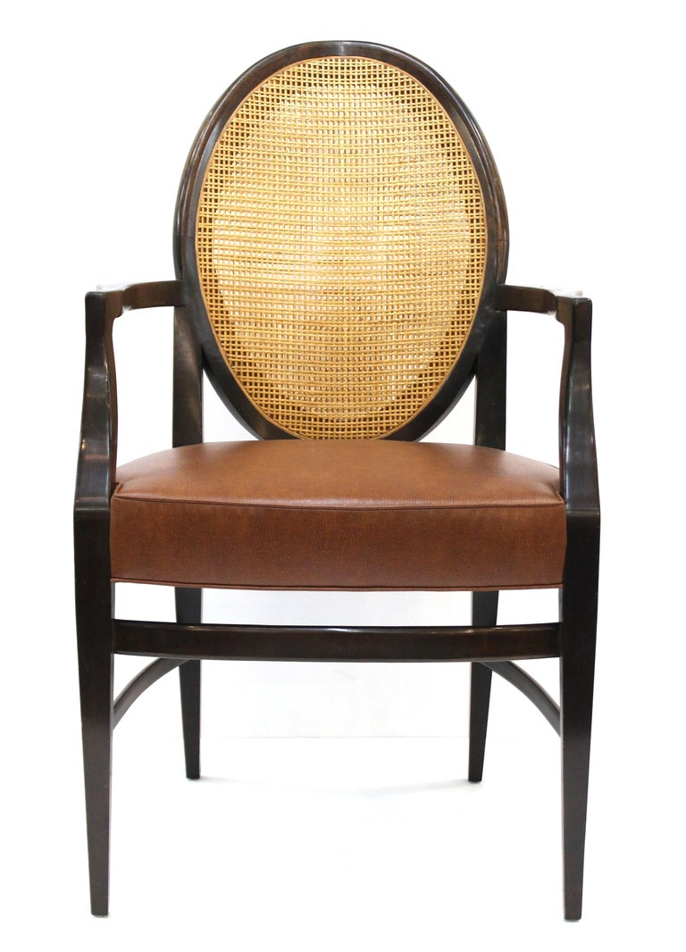 American Mid-Century Modern Armchairs with Caned Backs Seat Attributed to Harvey Probber  For Sale