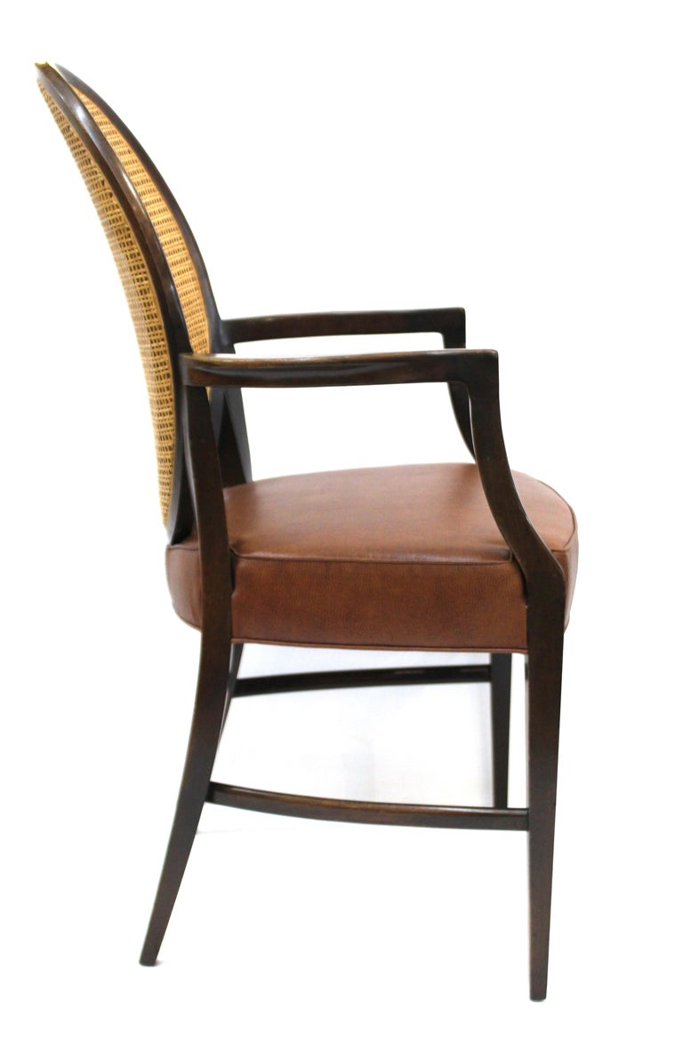 Mid-Century Modern Armchairs with Caned Backs Seat Attributed to Harvey Probber  In Excellent Condition For Sale In New York, NY