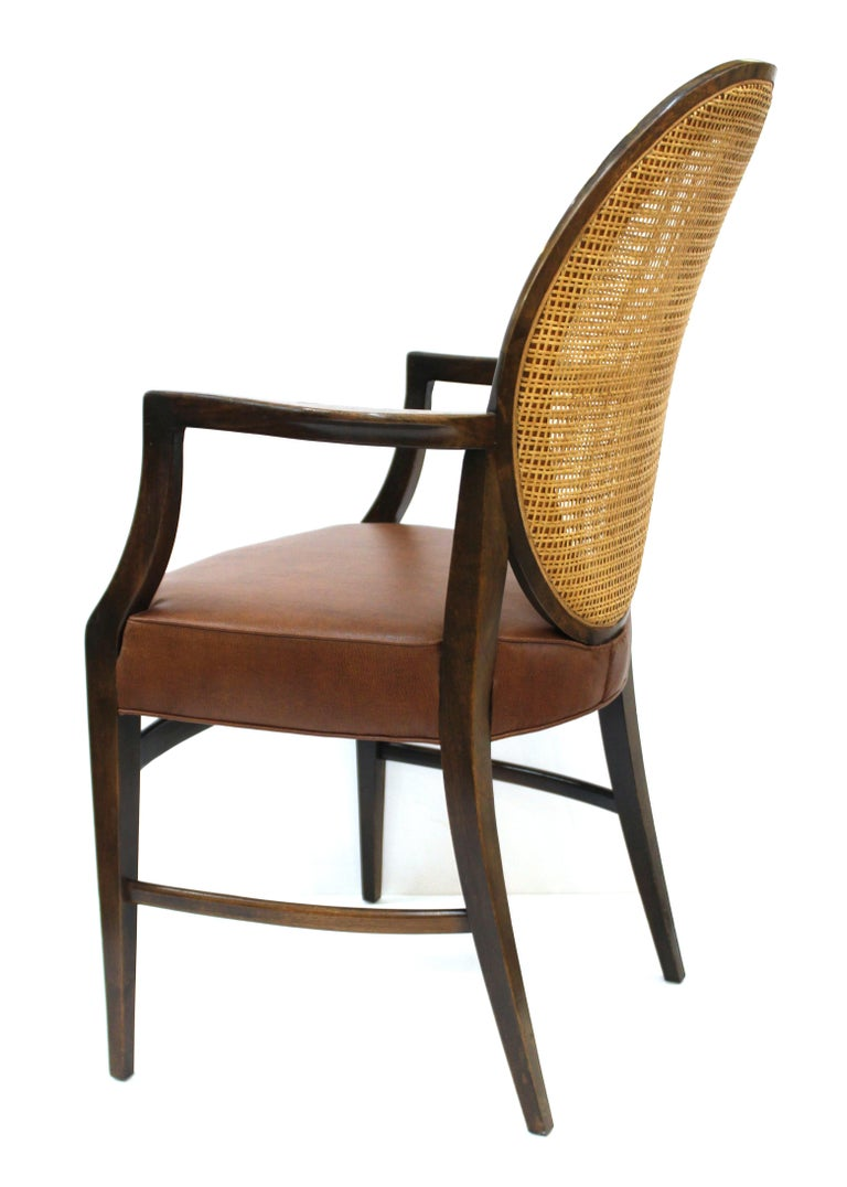 Mid-20th Century Mid-Century Modern Armchairs with Caned Backs Seat Attributed to Harvey Probber  For Sale