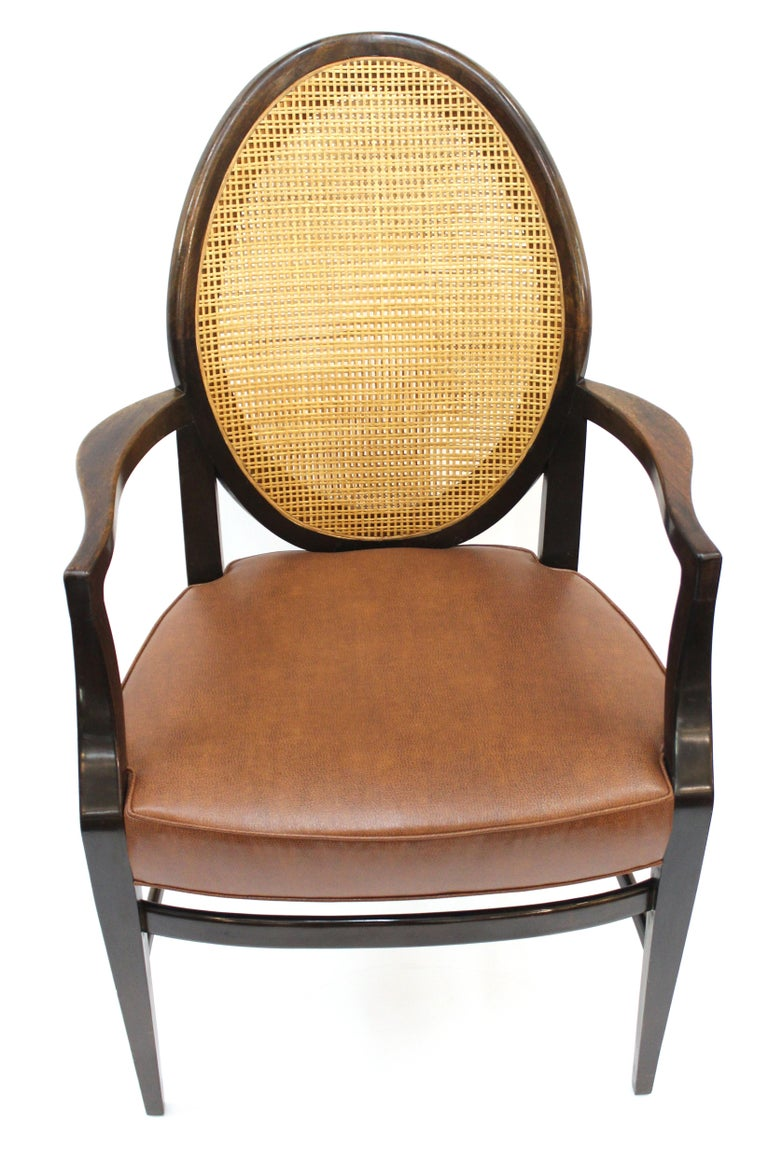 Mid-Century Modern Armchairs with Caned Backs Seat Attributed to Harvey Probber  For Sale 1
