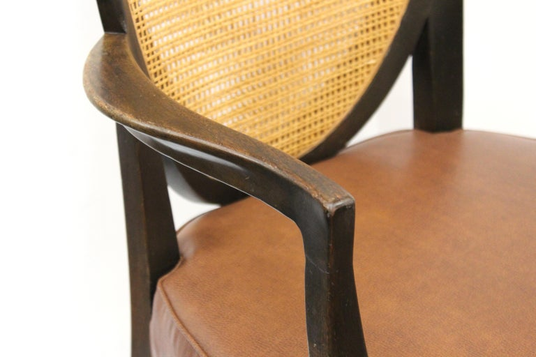 Mid-Century Modern Armchairs with Caned Backs Seat Attributed to Harvey Probber  For Sale 2