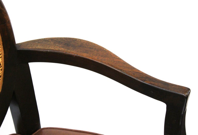 Mid-Century Modern Armchairs with Caned Backs Seat Attributed to Harvey Probber  For Sale 3