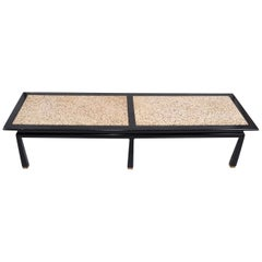 Harvey Probber Mid-Century Modern Asian Style Travertine and Brass Coffee Table