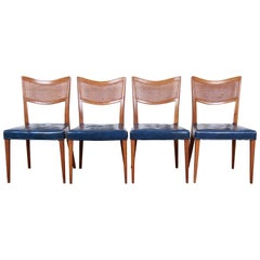 Harvey Probber Mid-Century Modern Mahogany and Cane Dining Chairs, Set of Four