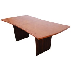 Harvey Probber Mid-Century Modern Teak and Walnut Bow Tie Extension Dining Table