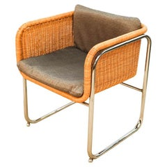 Harvey Probber Mid Century Wicker and Chrome Cantilever Dining Chair