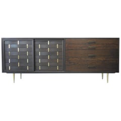 Harvey Probber Midcentury Sideboard Console Credenza with Brass Detail
