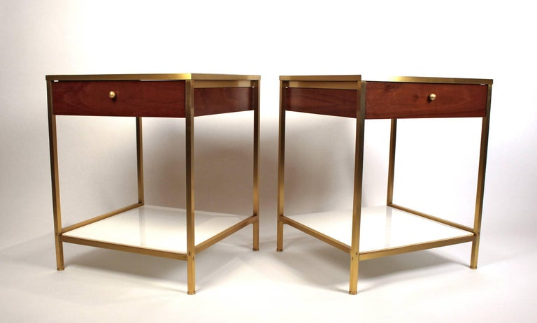 American Harvey Probber Milk Glass, Brass and Walnut Midcentury Nightstands For Sale