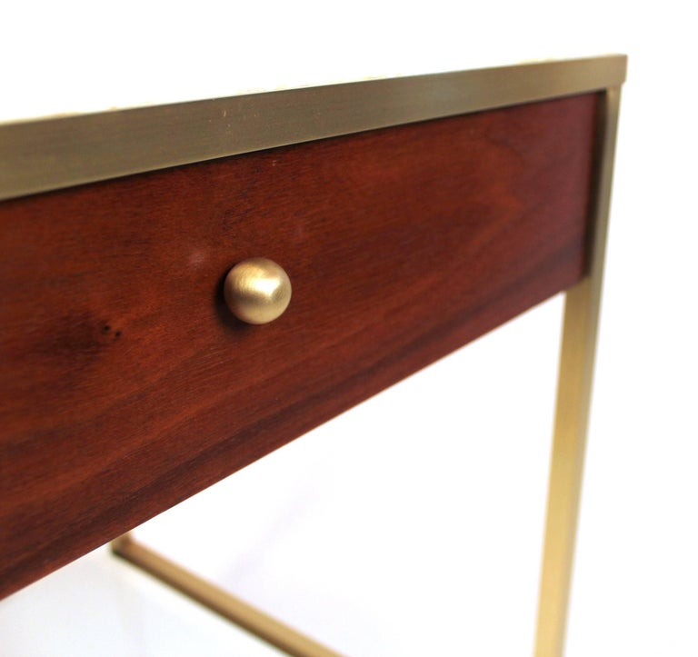 Harvey Probber Milk Glass, Brass and Walnut Midcentury Nightstands In Excellent Condition For Sale In Dallas, TX