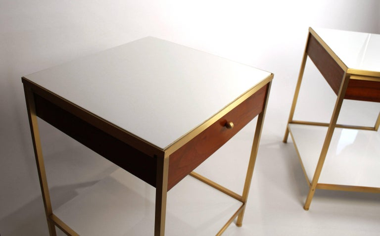 20th Century Harvey Probber Milk Glass, Brass and Walnut Midcentury Nightstands For Sale