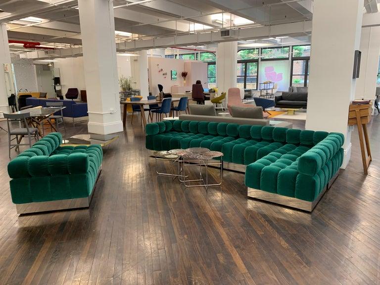 Harvey Probber Modular Deep Tuft Sofa Upholstered in  Raf Simmons Velvet  For Sale 4