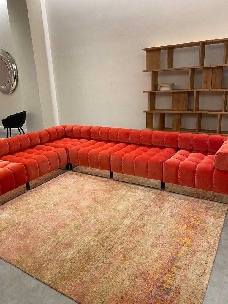 Mid-Century Modern Harvey Probber Modular Deep Tuft Sofa Upholstered in  Raf Simmons Velvet  For Sale