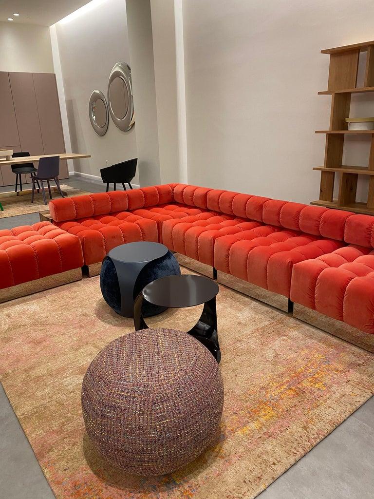 American Harvey Probber Modular Deep Tuft Sofa Upholstered in  Raf Simmons Velvet  For Sale