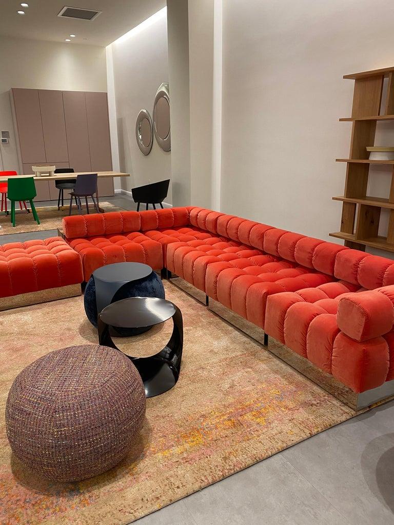 Harvey Probber Modular Deep Tuft Sofa Upholstered in  Raf Simmons Velvet  For Sale 1