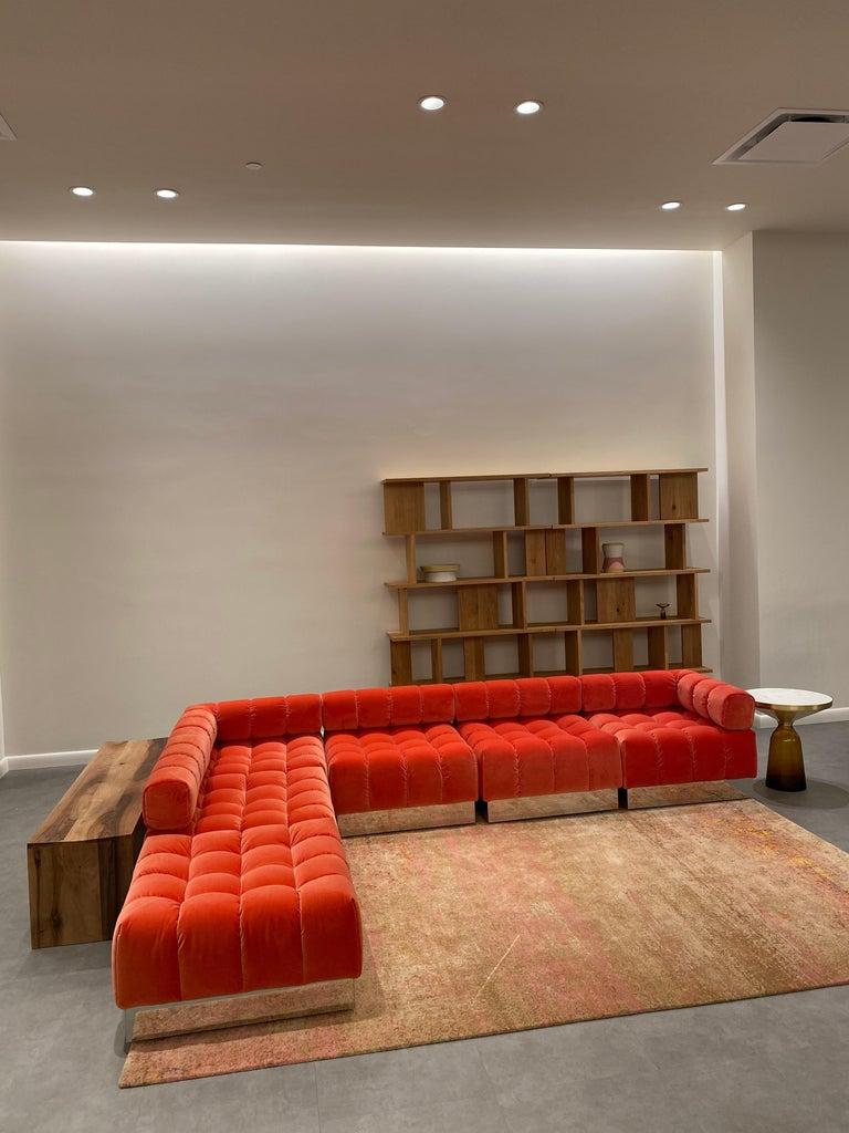Harvey Probber Modular Deep Tuft Sofa Upholstered in  Raf Simmons Velvet  For Sale 2