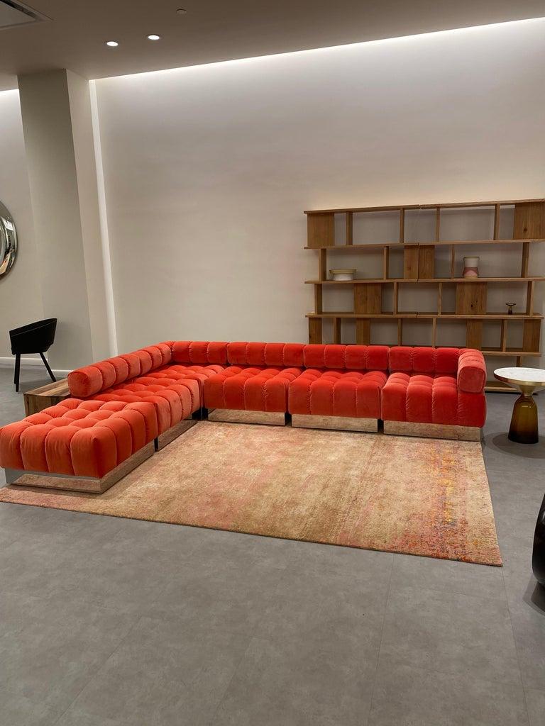 Harvey Probber Modular Deep Tuft Sofa Upholstered in  Raf Simmons Velvet  For Sale 3