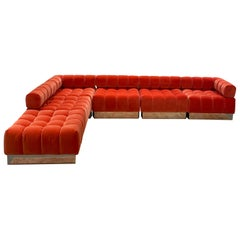 Harvey Probber Modular Deep Tuft Sofa Upholstered in  Raf Simmons Velvet
