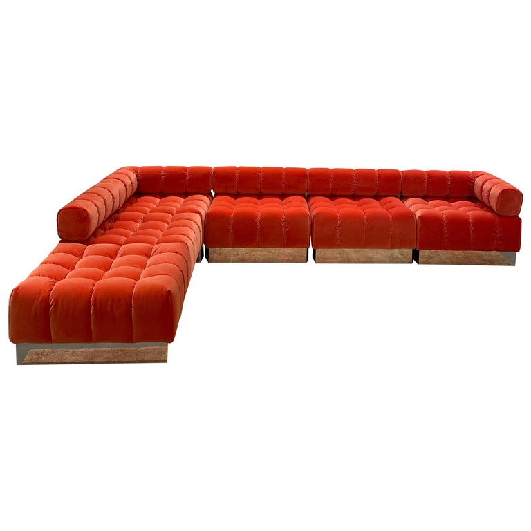 Harvey Probber Modular Deep Tuft Sofa Upholstered in  Raf Simmons Velvet  For Sale