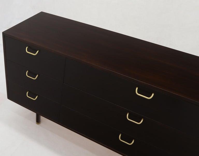 Harvey Probber Nine-Drawer Espresso Mahogany Long Dresser Credenza Brass Pulls For Sale 3