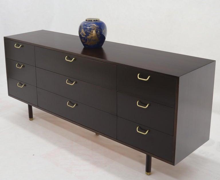 Mid-Century Modern Harvey Probber Nine-Drawer Espresso Mahogany Long Dresser Credenza Brass Pulls For Sale