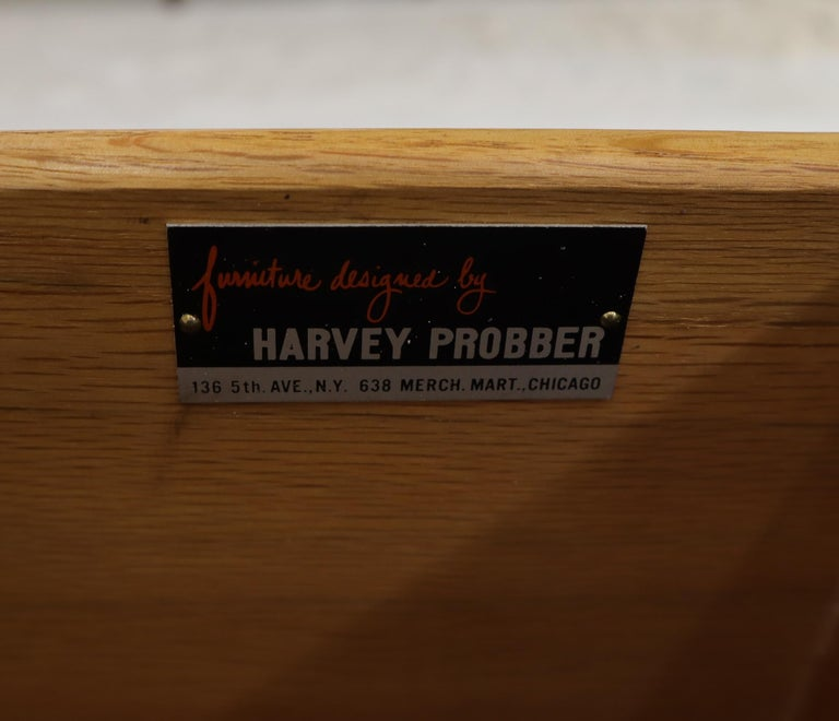 Harvey Probber Nine-Drawer Espresso Mahogany Long Dresser Credenza Brass Pulls In Excellent Condition For Sale In Blairstown, NJ
