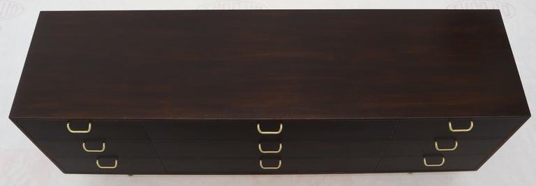 Harvey Probber Nine-Drawer Espresso Mahogany Long Dresser Credenza Brass Pulls For Sale 1