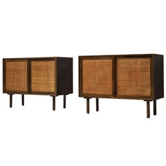 Harvey Probber Pair of Cabinets in Mahogany and Cane