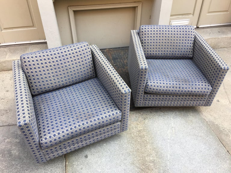 American Harvey Probber Pair of Swivel Club Chairs For Sale