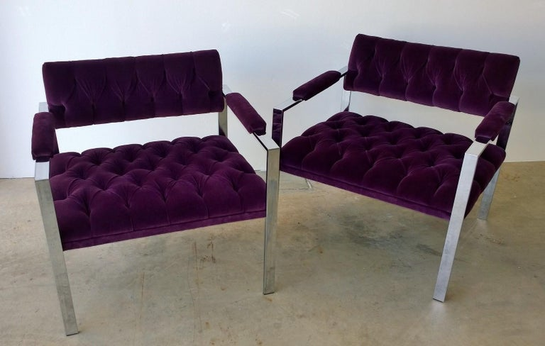 Polished Pair of Erwin-Lambeth Chrome and New Deep Purple Velvet Tufted Arm Lounge Chairs For Sale