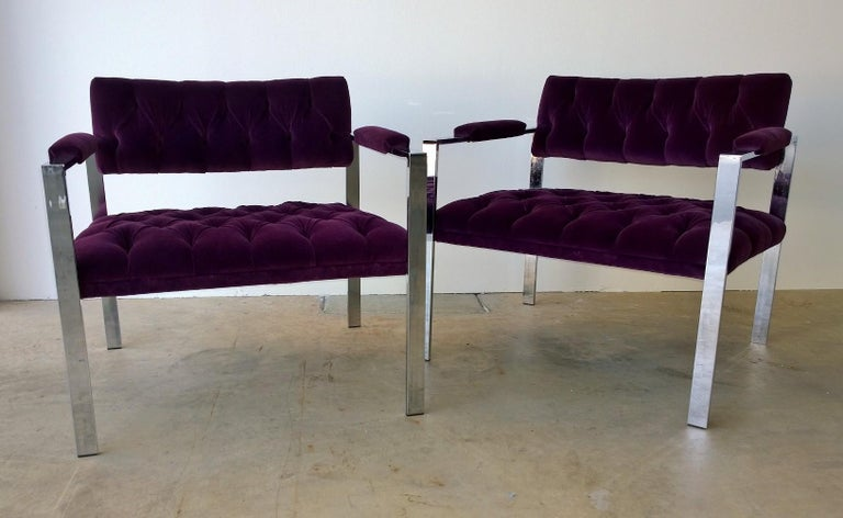 Pair of Erwin-Lambeth Chrome and New Deep Purple Velvet Tufted Arm Lounge Chairs In Good Condition For Sale In Houston, TX