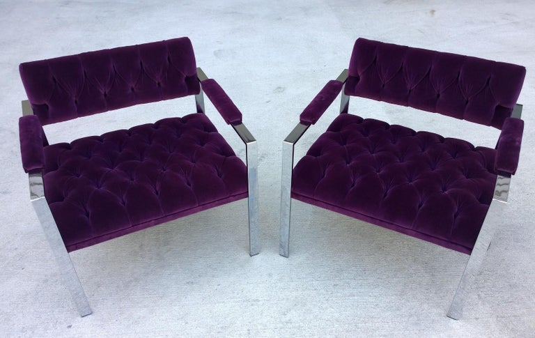 Mid-Century Modern Pair of Erwin-Lambeth Chrome and New Deep Purple Velvet Tufted Arm Lounge Chairs For Sale