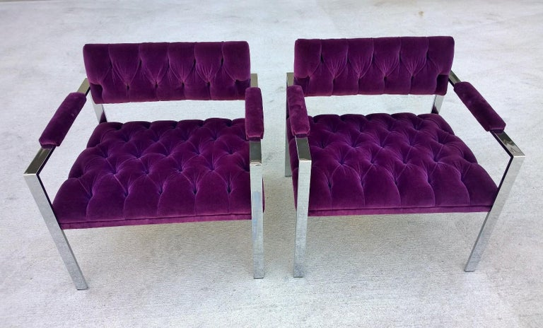 20th Century Pair of Erwin-Lambeth Chrome and New Deep Purple Velvet Tufted Arm Lounge Chairs For Sale
