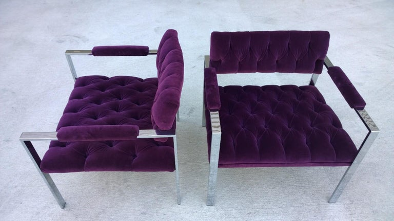 Pair of Erwin-Lambeth Chrome and New Deep Purple Velvet Tufted Arm Lounge Chairs For Sale 1