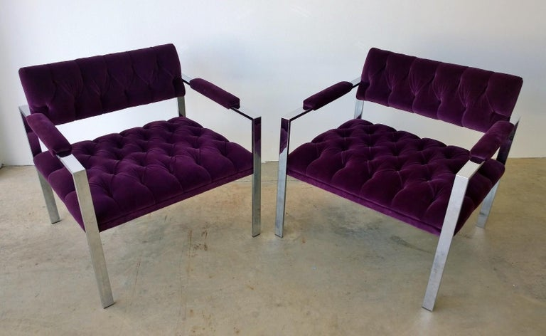 American Pair of Erwin-Lambeth Chrome and New Deep Purple Velvet Tufted Arm Lounge Chairs For Sale