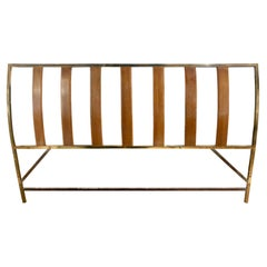 Harvey Probber Queen Size Head Board in Mahogany and Brass, 1950s