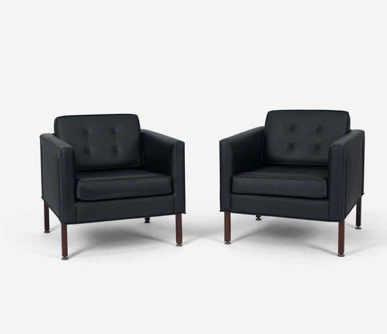 Mid-Century Modern Harvey Probber Style Rosewood and Black Leather Club Chairs For Sale