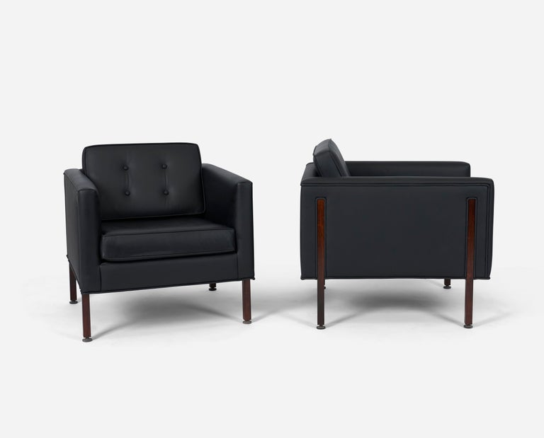 American Harvey Probber Style Rosewood and Black Leather Club Chairs For Sale