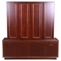 Harvey Probber Rosewood and Brass Breakfront Bookcase or Bar Cabinet, Refinished