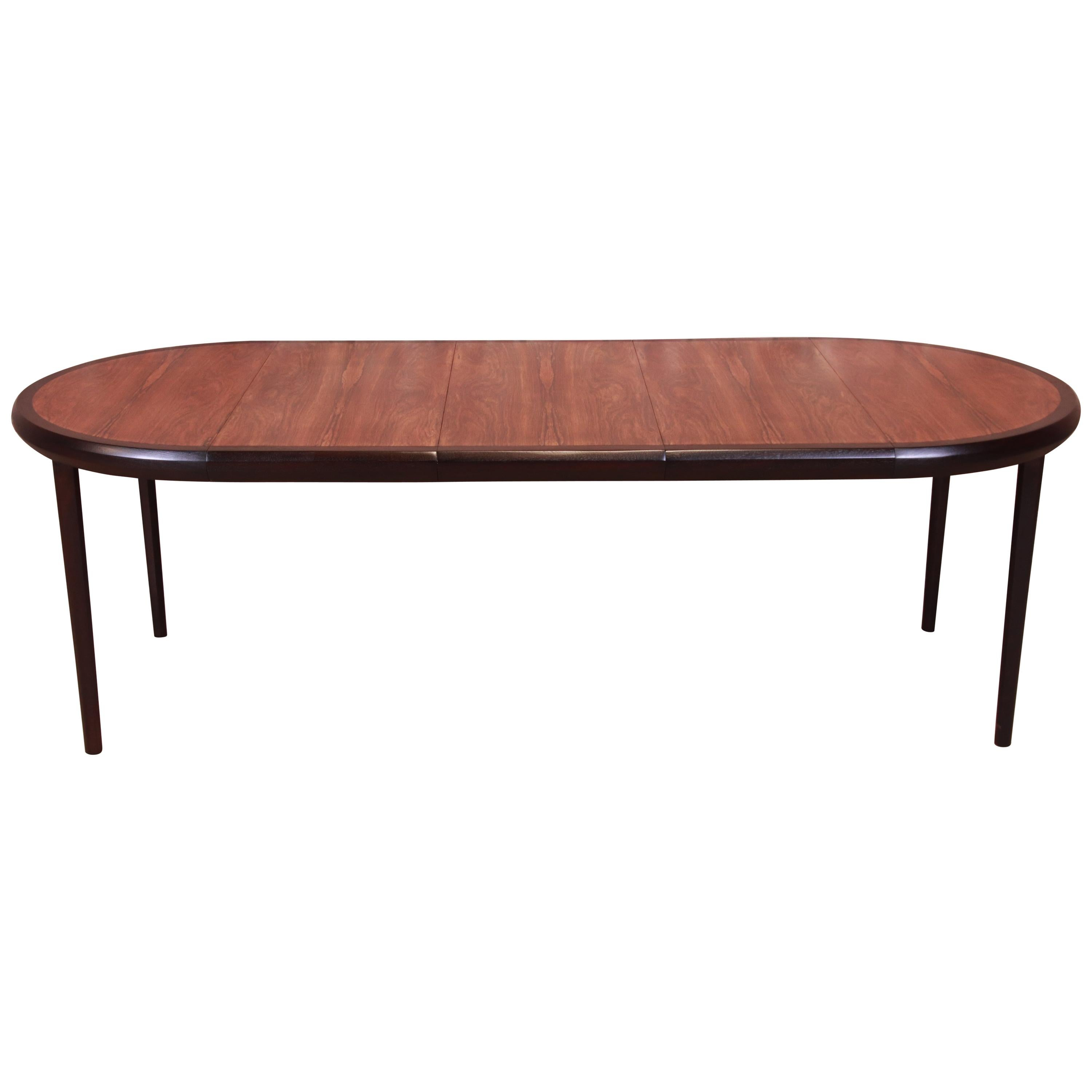 Harvey Probber Rosewood and Ebonized Walnut Extension Dining Table, Refinished