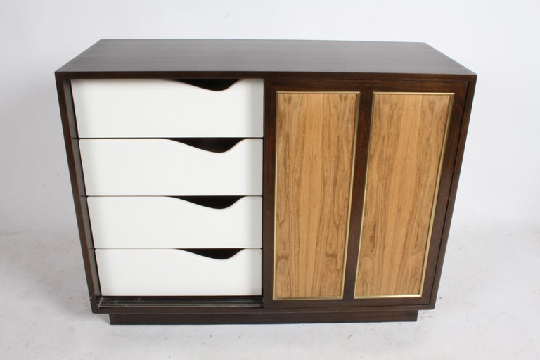 Harvey Probber Rosewood, Brass and Mahogany Dresser For Sale 4