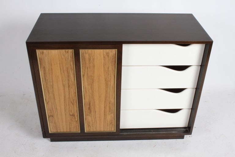 Harvey Probber Rosewood, Brass and Mahogany Dresser For Sale 6