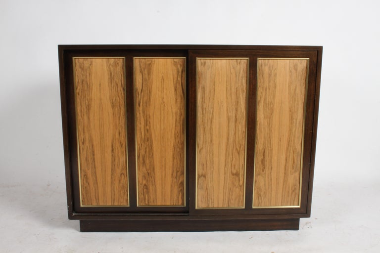 Harvey Probber Rosewood, Brass and Mahogany Dresser In Good Condition For Sale In St. Louis, MO