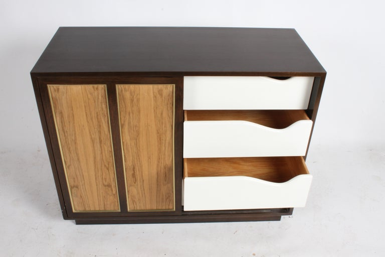 Harvey Probber Rosewood, Brass and Mahogany Dresser For Sale 1