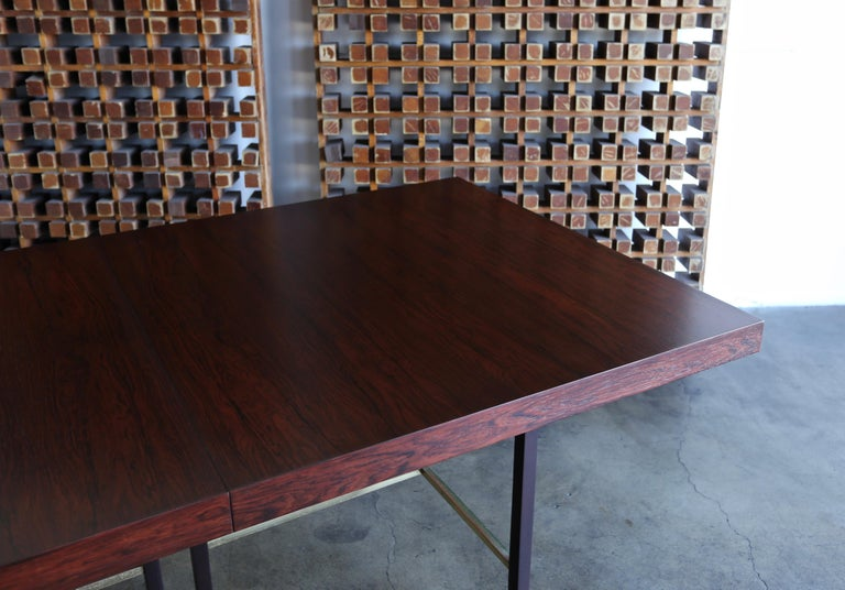 Brass Harvey Probber Rosewood Dining Table, circa 1950 For Sale