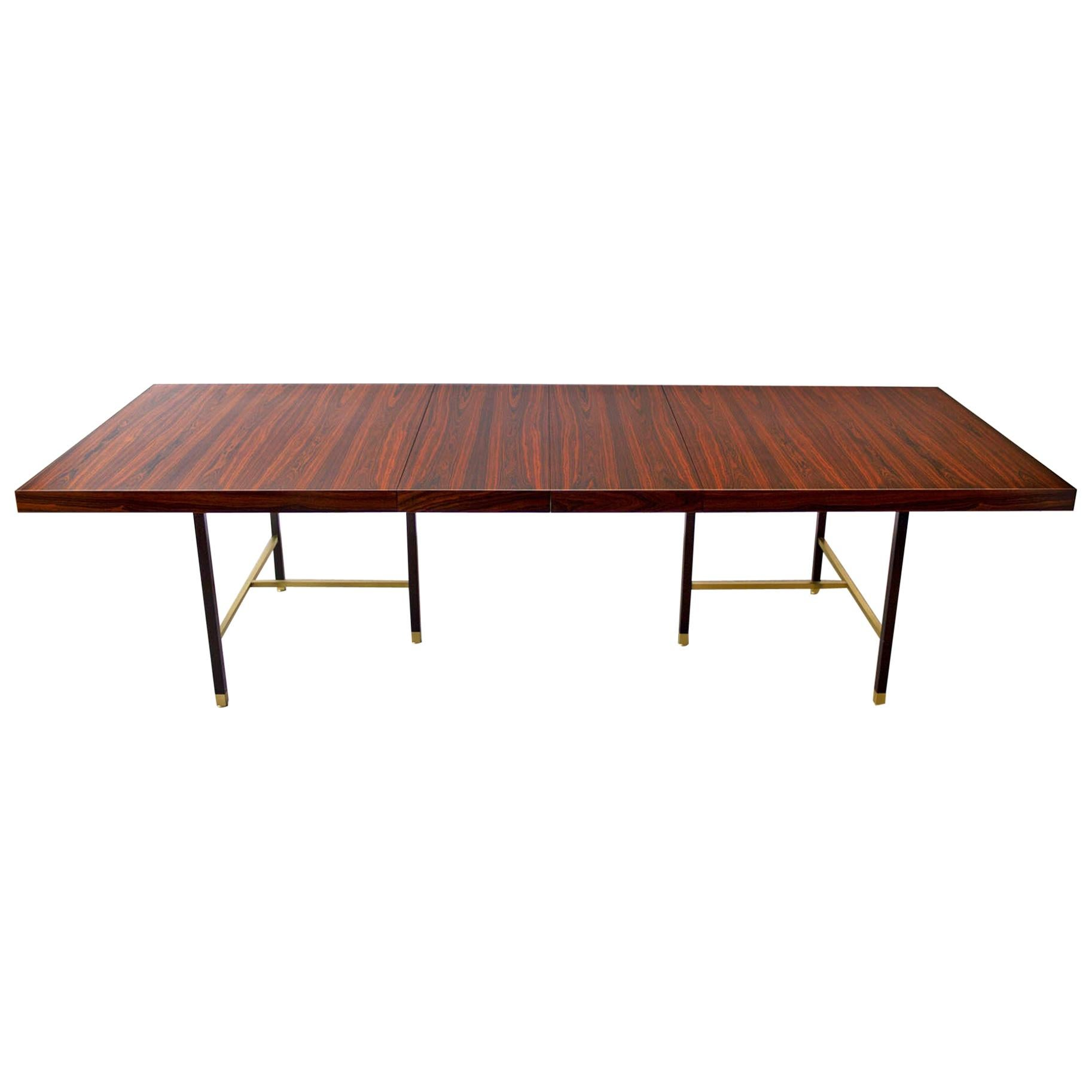 Harvey Probber Rosewood Dining Table with Extensions and Solid Brass Runners