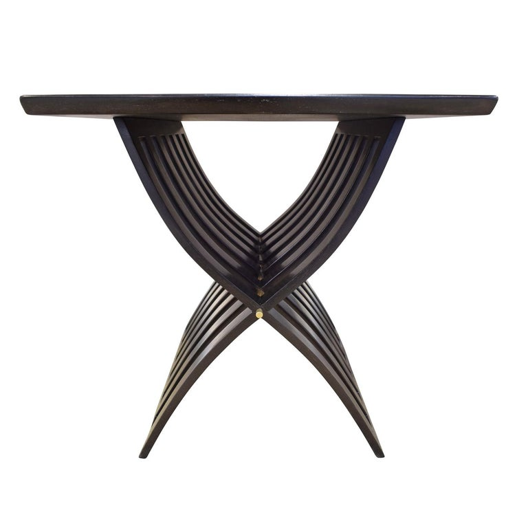 American Harvey Probber Sculptural Side Table with Curved Slat Base, 1960s For Sale