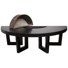 Harvey Probber Semicircle Coffee Table with Inserted Copper Planter