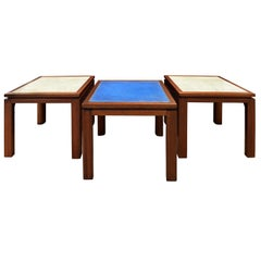 "Harvey Probber Set of 3 Tables with ""Enamel on Copper"" Tops, 1950s"